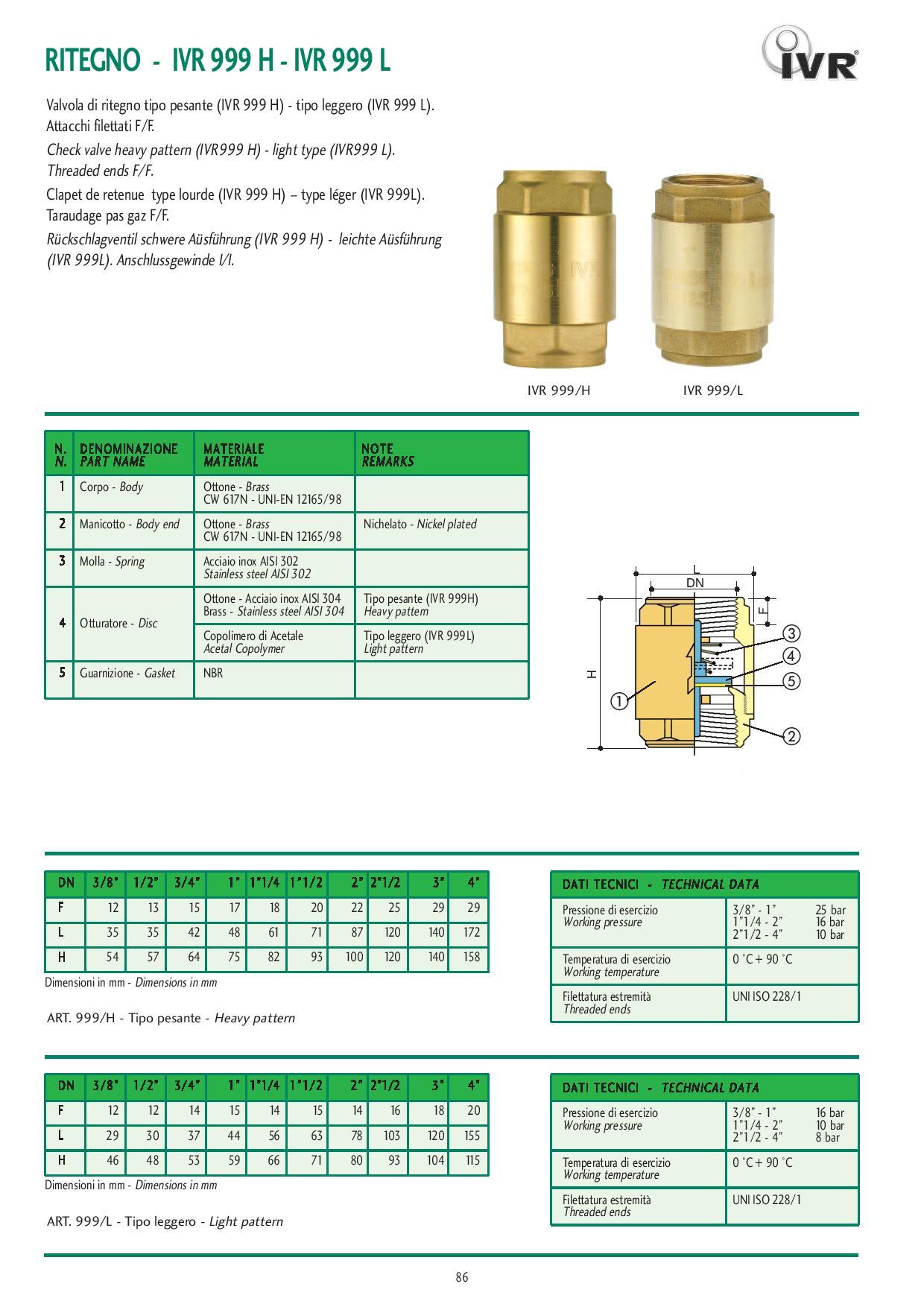Технически характеристики на възвратни клапани лек тип с пластмасов диск